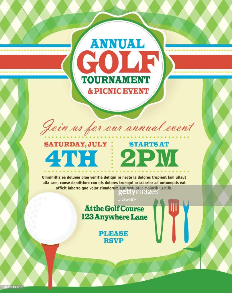 BBQ Golf tournament invitation design template green argyle and tee : stock illustration