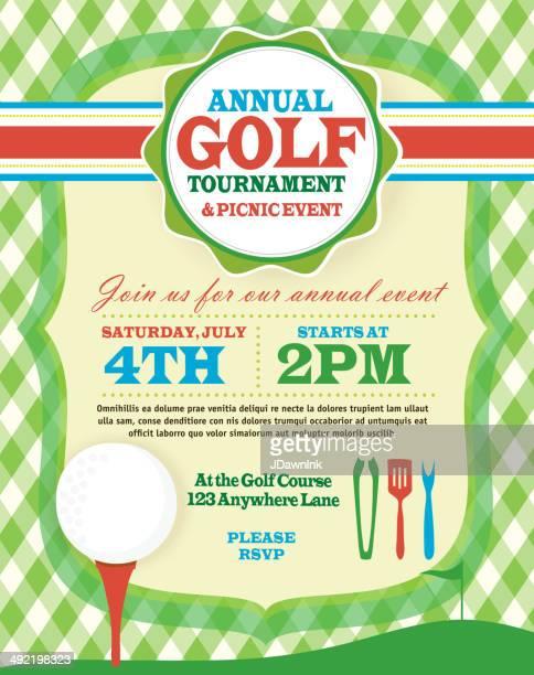 bbq golf tournament invitation design template green argyle and tee - golf tournament stock illustrations, clip art, cartoons, & icons