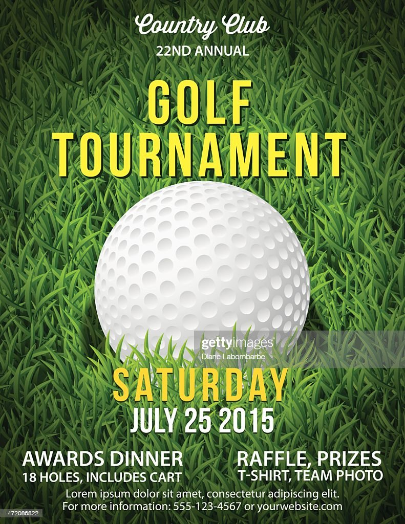 Golf Tournament Invitation Flyer With Grass And Ball : stock illustration