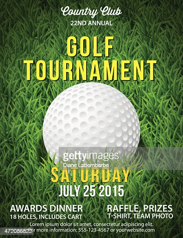 Golf tournament invitation flyer with grass and ball for Golf tournament budget template