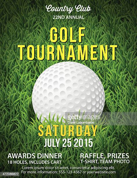 golf tournament invitation flyer with grass and ball - green golf course stock illustrations, clip art, cartoons, & icons