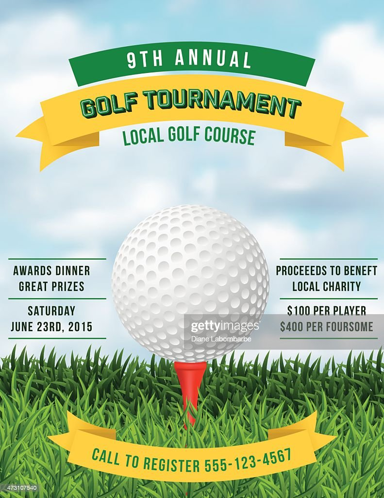 Golf Tournament Invitation Flyer With Grass And Ball : Vector Art