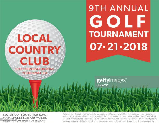 golf tournament invitation flyer with grass and ball - golf tournament stock illustrations, clip art, cartoons, & icons