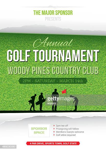 ilustraciones, imágenes clip art, dibujos animados e iconos de stock de cartel de golf tournament - golf