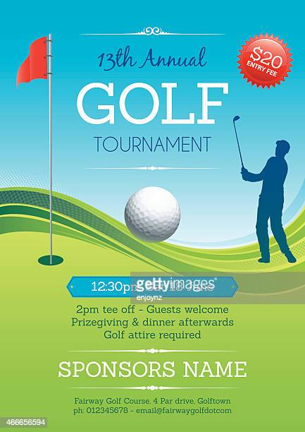 golf tournament poster vector - golf tournament stock illustrations, clip art, cartoons, & icons