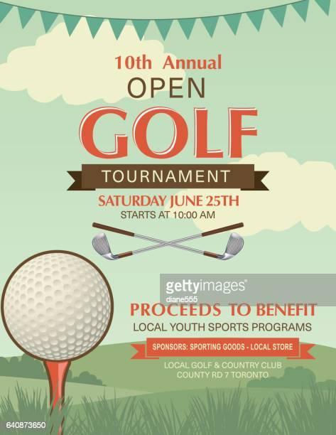 ilustrações de stock, clip art, desenhos animados e ícones de torneio de golfe modelo com colocar a verde e a bandeira - golf tournament