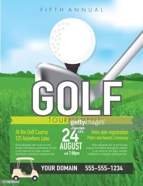 Golf tournament with golf tee club invitation template on green