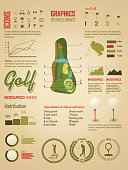 Golf. Vector Labels. Set elements of infographics about golf game