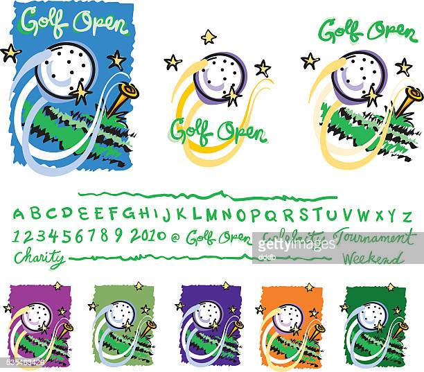 golf_event_sketch_style - golf tournament stock illustrations, clip art, cartoons, & icons