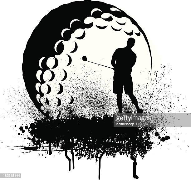 golfer golf ball grunge graphic - teeing off stock illustrations, clip art, cartoons, & icons