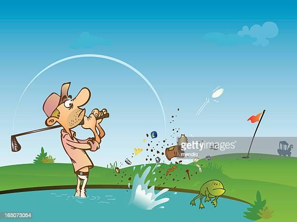 Golfspieler ist von einer water hazard