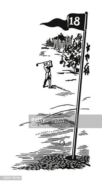 golfer on the eighteenth hole - golf flag stock illustrations