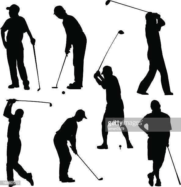 golfer pose - putting stock illustrations