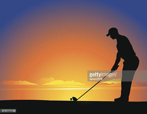 golfer silhouette - teeing off stock illustrations, clip art, cartoons, & icons