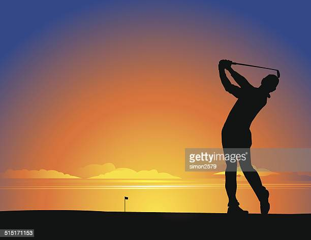 golfer silhouette - golf swing stock illustrations, clip art, cartoons, & icons