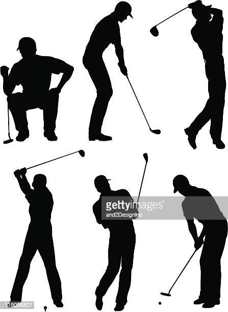 golfer silhouettes - golfer stock illustrations