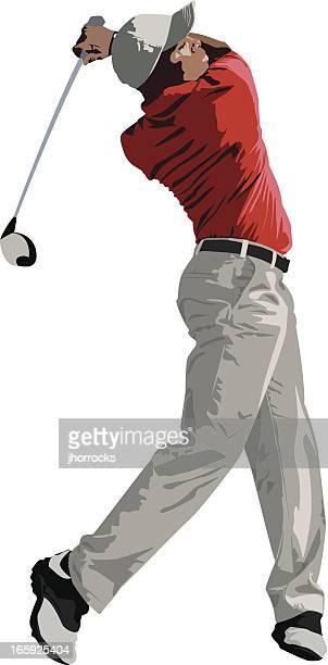golfer swinging club - golf swing stock illustrations, clip art, cartoons, & icons