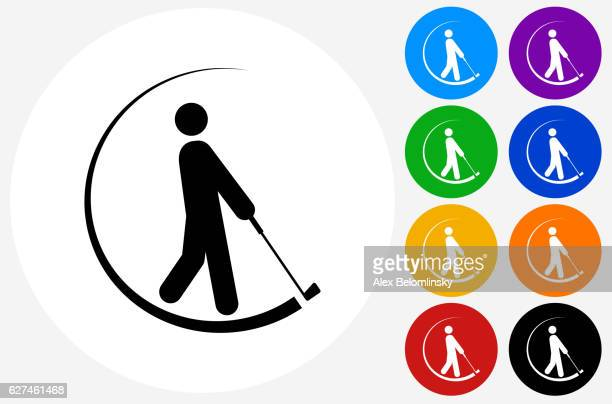 golfer swinging  golf club icon on flat color circle buttons - golf swing stock illustrations, clip art, cartoons, & icons