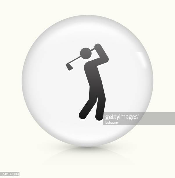 Golfer Swinging Golf Club icon on white round vector button