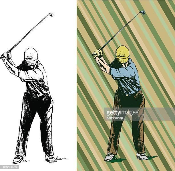 golfer swinging golf club - teeing off - golf swing stock illustrations, clip art, cartoons, & icons