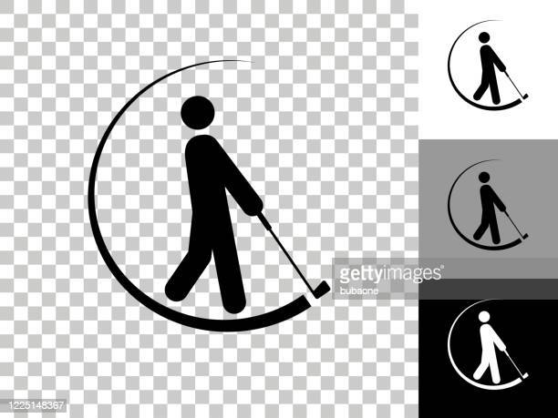 golfer swinging the golf club icon on checkerboard transparent background - taking a shot sport stock illustrations