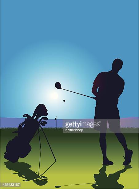 golfer teeing off background - teeing off stock illustrations, clip art, cartoons, & icons