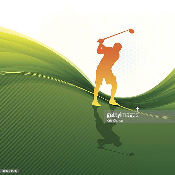 golfer teeing off - background - teeing off stock illustrations, clip art, cartoons, & icons