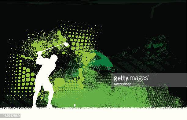 golfer teeing off - golf graphic background - teeing off stock illustrations, clip art, cartoons, & icons