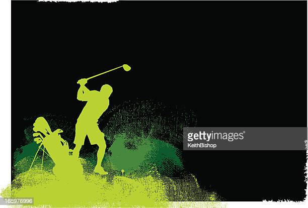 golfer teeing off - golf grunge graphic background - teeing off stock illustrations, clip art, cartoons, & icons