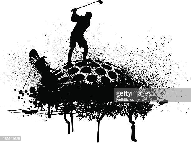 golfer teeing off - golf grunge graphic - teeing off stock illustrations, clip art, cartoons, & icons