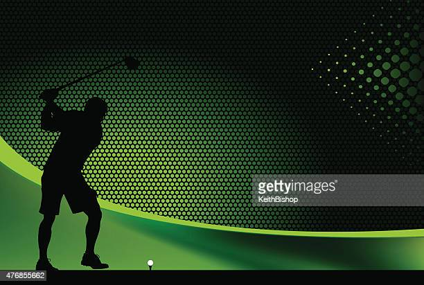 golfer teeing off graphic background - teeing off stock illustrations, clip art, cartoons, & icons