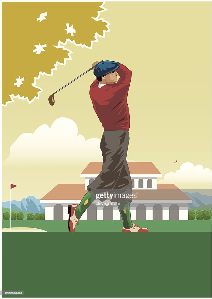 Golfer Teeing off : stock illustration