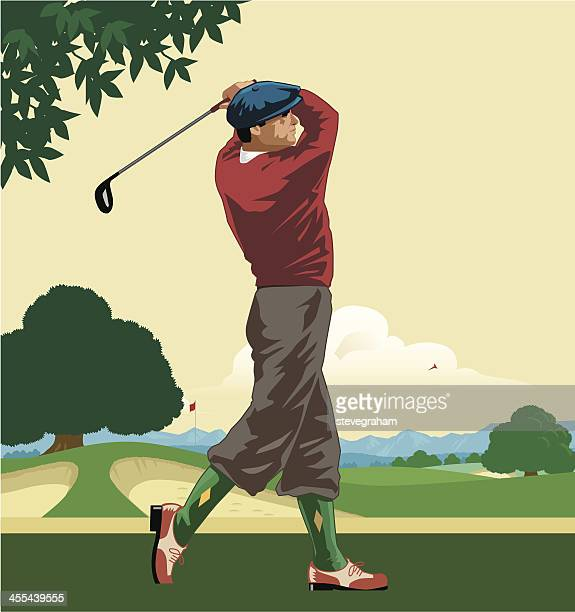 golfer teeing off - sand trap stock illustrations, clip art, cartoons, & icons