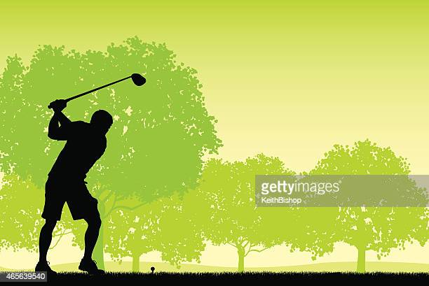 golfer teeing off with golf club - background - teeing off stock illustrations, clip art, cartoons, & icons