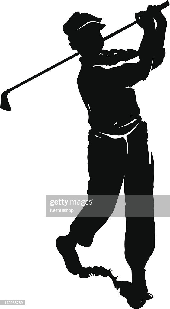 Golfer Teeing Off with Golf Club - Retro