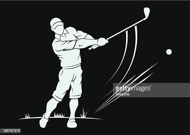 golfer - golf swing stock illustrations, clip art, cartoons, & icons
