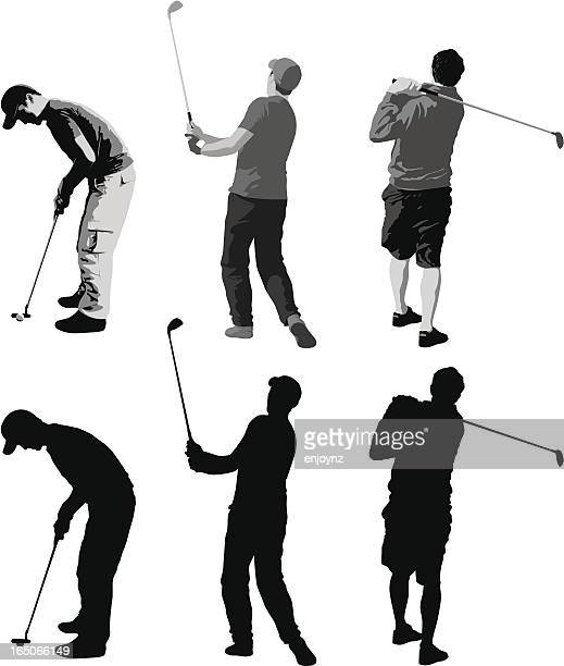 golfers - golf swing stock illustrations, clip art, cartoons, & icons