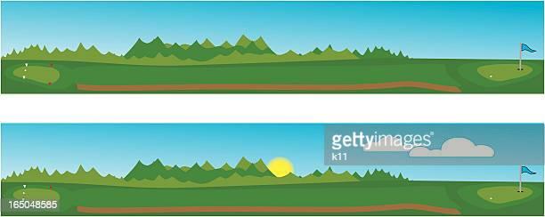 golfing fairways - teeing off stock illustrations, clip art, cartoons, & icons