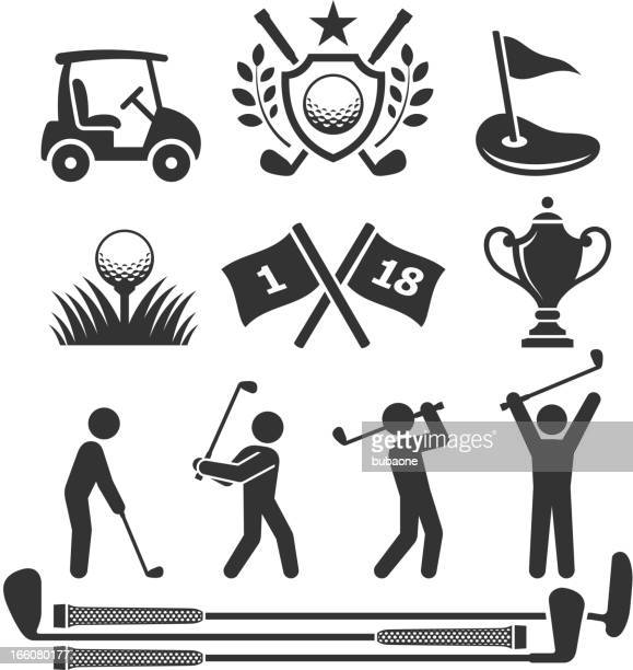 golfing icons and stick figures - country club stock illustrations, clip art, cartoons, & icons