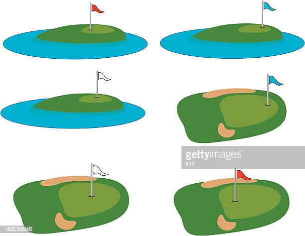 golfing water and sand traps - green golf course stock illustrations, clip art, cartoons, & icons