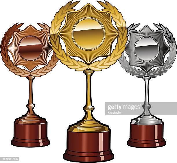 Gols, silver and bronze trophy set