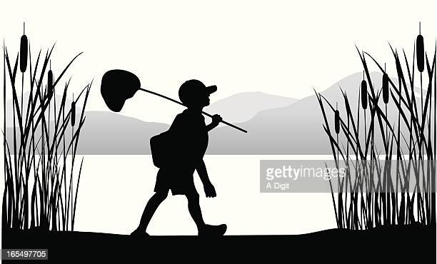 gone catching vector silhouette - lakeshore stock illustrations