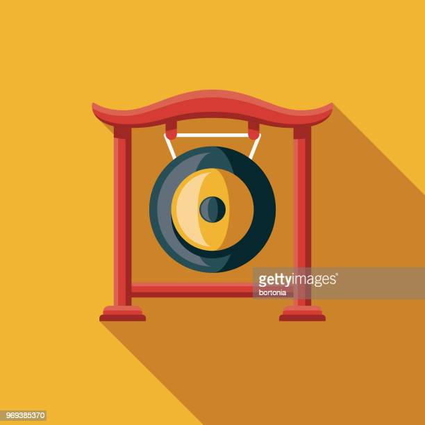 gong flat design chinese new year icon - gong stock illustrations