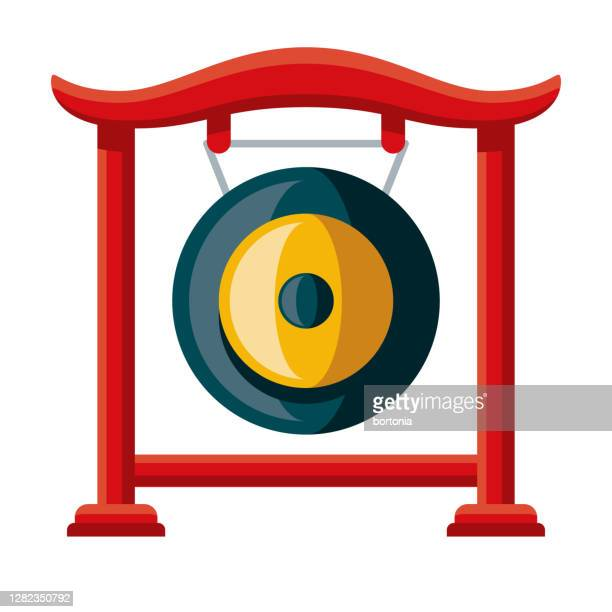 gong icon on transparent background - gong stock illustrations