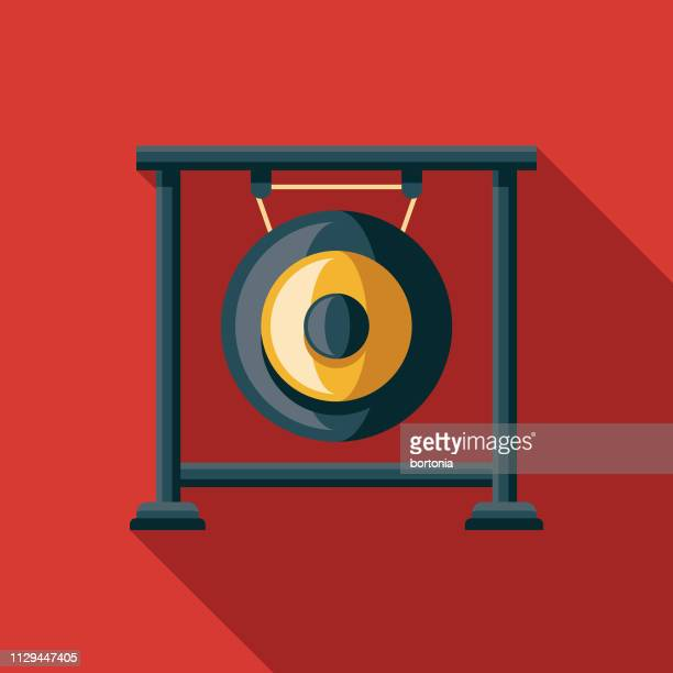 gong musical instrument icon - gong stock illustrations