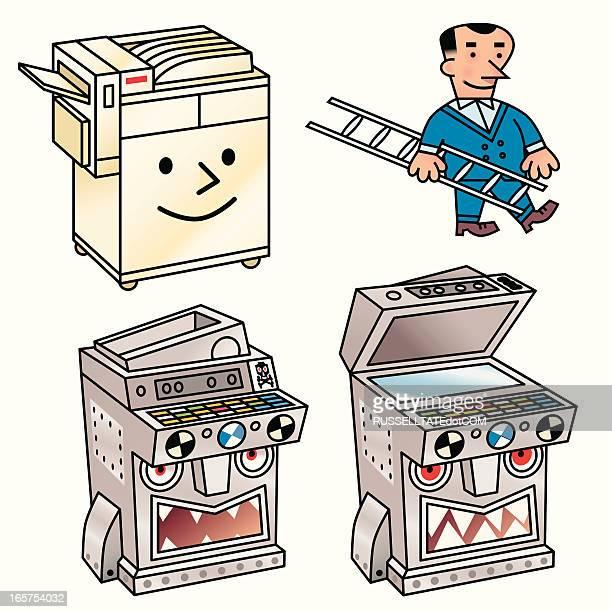 good and bad equipment - photocopier stock illustrations, clip art, cartoons, & icons
