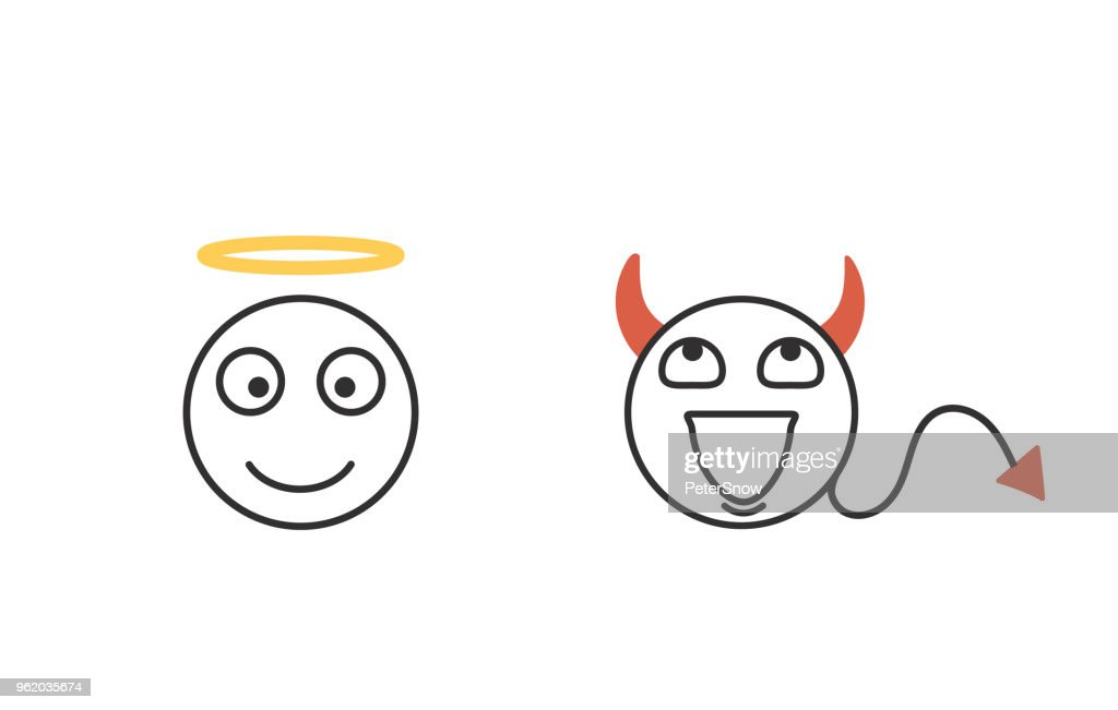 Good and evil concept emoticon icons. Character heads representing conscience. Good and Bad. Vector isolated icon set