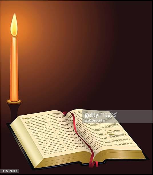 ilustrações, clipart, desenhos animados e ícones de bom livro e vela - bíblia