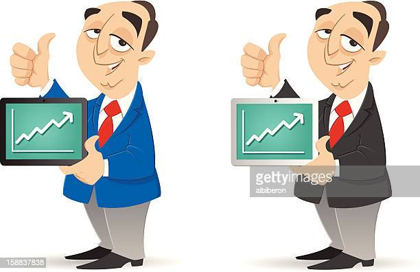 good business on tablet - online advertising stock illustrations, clip art, cartoons, & icons