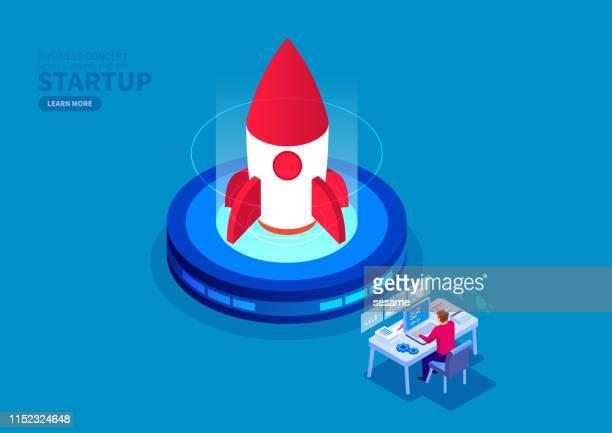 good business start, good business start - launch event stock illustrations